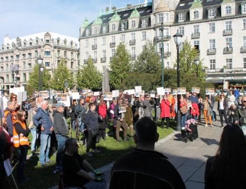 Demonstrasjon mot automatiske strømmålere foran Stortinget